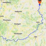 Gesamtstrecke Sulz bis Rothenburg o.d.T.