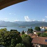 Blick vom Hotel Flora auf den Lago Maggiore in Stresa