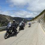 Anfahrt auf den Col de Bonaigua - kurzer Halt vor der Baustelle