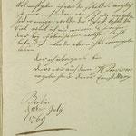 Stettin, St. Nikolai: 1769 verfasster Brief von Ernst Marx, der nach Migends Tod (1767) zunächst allein auftrat, S. 3