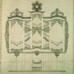 Stettin, St. Marien: der 1768 von Christian Friedrich Voigt eingereichte Riss für das auf Joachim Wagner zurückgehende, erst 1771 von Voigt ausgeführte Neubaukonzept.