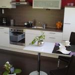 neue komplett eingerichtete Einbauküche in Hochglanzweiß mit dunkelm Laminatboden, Ferienwohnung Gartenidylle Ostfriesland Leer