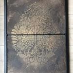 Stencil gedrukt in MarmorinoKS in een zwart met brons wax afgewerkt