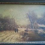 Restauratie schilderij winterlandschap, foto genomen voor het reinigingsproces