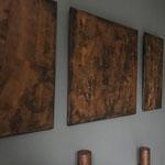 Houten drieluik gemaakt met corrosie imitatie