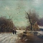 Restauratie schilderij winterlandschap, foto genomen na het reinigingsproces