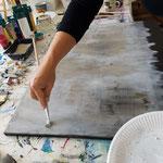 Granulieren mit trockenen Pinsel und Acrylfarben