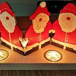 Houten Sfeerlicht Kerstman, uniek, theelichthouder speciaal, bijzondere sfeerlichten, uitgevallen theelichthouder_4