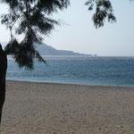 unser Strand am Stellplatz Taverne Galini