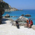 erste Radtour auf Lefkas mit Badeeinlage bei Agios Nikitas