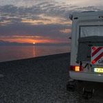 Sonnenaufgang am korinthischen Meer bei Diakofto