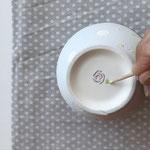 Drehe die Keramik um und gestalte die Rückseite mit deinen Initialen. Schön ist auch ein Datum, eine Widmung o.ä.