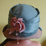 DIY Regency Bonnet out of a hat - Result on a Styling head