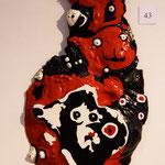 """""""Cochon"""" Écorce laquée acrylique brillante. Collection privée"""