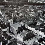 Blick auf die Pfarrkirche zu Güstrow aus Richtung Südosten (Luftbildaufnahme  um ........)