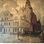 Ratskeller, Blick zum Rathaus, Ölgemälde auf der Wand