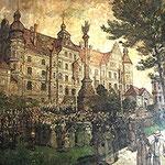 Ratskeller, Blick auf Landedenkmal und Schloss, Ölgemälde auf der Wand