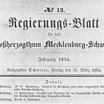 Regierungsblatt Nr. 13 von 1854