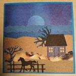 O 5 Nachtidylle am Meer - Grandkarte im Naiven Stil  verkauft