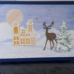 24 verkauft Winterlandschaft mit handgemaltem Hintergrund  -7,00€ - mit oder ohne Geldtasche - handgefertigtem festen Umschlag - Maxi