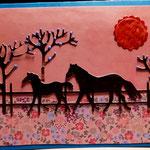 O 12 Pferdekoppel mit Abendrot - Maxi 7,00€ mit Umschlag