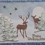 52 Hirsch mit Kitz im Wald - 7,00€ - Hintergrund  handgemalt - größere Maxi mit handgefertigtem festen Umschlag