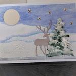25 Winterlandschaft mit handgemaltem Hintergrund 2  - 7,00€ -   mit oder ohne Geldtasche - handgefertigtem festen Umschlag - Maxi