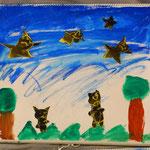夜の空を蝙蝠が羽ばたきます。蝙蝠と言う少し怖い生き物ですが、可愛く描いています。