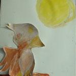 月明かりに照らされた鳥。背景を白くしたら光ってるようだね!