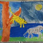 夜の狩りの様子です。逃げるシマウマにも飛びかかる豹にも動きと緊迫感があります。