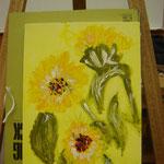 黄色の下地にひまわりを描くって素敵!ひかりを感じます!