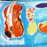 ヴァイオリンやブドウの色の差や形をよく見てきれいに描いているね!