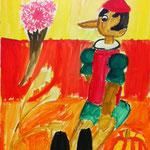 背景の色がすてきだね。ピノキオの形も立体的にしっかり描けてます。