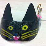 黒猫仮面。顔の中心は透けて見えるペンで塗ったよ。