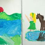 馬と女の子が見ている景色が、もう一ページに広がっています。スケッチブックを立体的に使った大作!