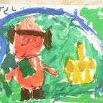 赤色が印象的ですね!かぼちゃの形もよく見て描いたね!