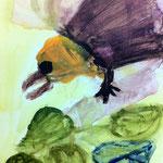 鳥の羽部分を何度も塗り重ねたり絵の具を取ったりして、深みが出ました。飛び立ちそうだね。