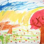 桜の咲く草原を動物が走っていきます。さらさらと音が聞こえてきそうだね。