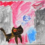 町に生きるたくましい猫たちです。都会の夜を描いてスタイリッシュです。
