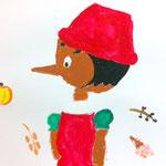 ピノキオを大きく丁寧に描いたね。周りのモチーフもそれぞれの質感がよく出てます。