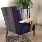 Deux tissus 100 % bio recouvrent l'assise et le dossier du fauteuil Ecoute Bergère