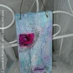 Heart♥Sign 'Desire' - Acryl/MixedMedia auf Altholz - 15 x 37 x 1,7 cm - verkauft