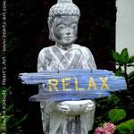 Heart♥Sign 'Relax' - Acryl auf wunderschönem, ausgewaschenen Altholz - 43 x 12,5 x 2 cm - € 49