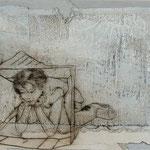 Heile Welt - Pappkartonhäusle / 2012 / 40 x 30 / Acryl, Acrylglas, Keilrahmen