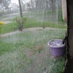 Manchmal regnet es hier ziemlich heftig, dann steht hier alles unter Wasser und es fließen richtige Bäche über die Wiese.