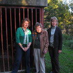 Lady April and daughters Julia (left) and Sarah (right), at the old rangers' hut, opened by Sir Rupert in 1980.