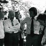 Sir Rupert (left) visits the parklands with Ron Gleeson, Vin Heffernan and Cr John Pizzey.