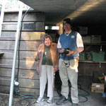 Ranger Pete with Lady April at the original DPA built rangers' hut, opened by Sir Rupert in 1980.