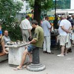 Les joueurs d'echecs dans les jardins publics
