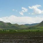 Les collines encadrant la vallée agricole de Ferghana
